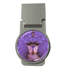 Artsy Purple Awareness Butterfly Money Clip (round)