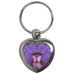 Artsy Purple Awareness Butterfly Key Chain (Heart)