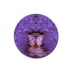 Artsy Purple Awareness Butterfly Drink Coaster (round)