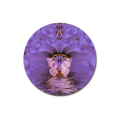 Artsy Purple Awareness Butterfly Magnet 3  (Round)