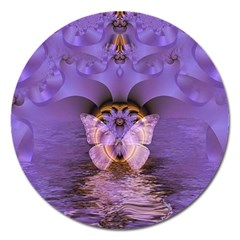 Artsy Purple Awareness Butterfly Magnet 5  (Round)