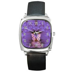 Artsy Purple Awareness Butterfly Square Leather Watch