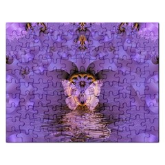 Artsy Purple Awareness Butterfly Jigsaw Puzzle (Rectangle)