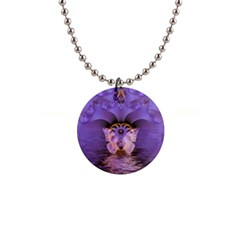 Artsy Purple Awareness Butterfly Button Necklace