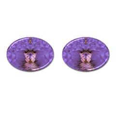 Artsy Purple Awareness Butterfly Cufflinks (Oval)