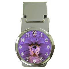 Artsy Purple Awareness Butterfly Money Clip with Watch