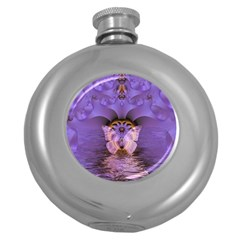 Artsy Purple Awareness Butterfly Hip Flask (Round)