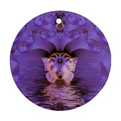 Artsy Purple Awareness Butterfly Round Ornament (Two Sides)