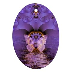 Artsy Purple Awareness Butterfly Oval Ornament (Two Sides)
