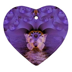 Artsy Purple Awareness Butterfly Heart Ornament (Two Sides)