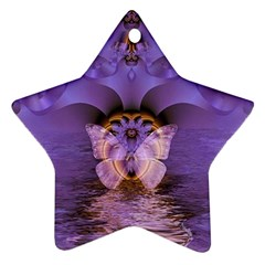 Artsy Purple Awareness Butterfly Star Ornament (two Sides)