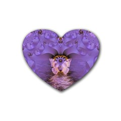 Artsy Purple Awareness Butterfly Drink Coasters 4 Pack (Heart)