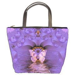 Artsy Purple Awareness Butterfly Bucket Handbag