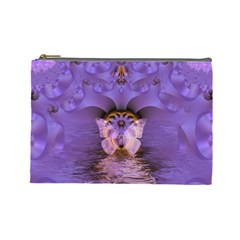 Artsy Purple Awareness Butterfly Cosmetic Bag (large)