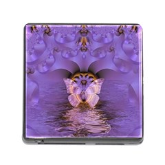 Artsy Purple Awareness Butterfly Memory Card Reader With Storage (square)