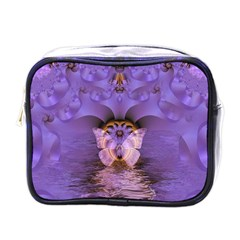 Artsy Purple Awareness Butterfly Mini Travel Toiletry Bag (one Side)