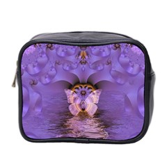 Artsy Purple Awareness Butterfly Mini Travel Toiletry Bag (two Sides)