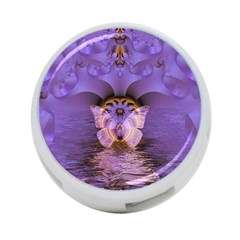 Artsy Purple Awareness Butterfly 4 Port Usb Hub (two Sides)