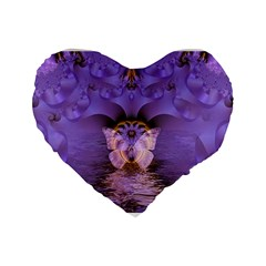 Artsy Purple Awareness Butterfly 16  Premium Heart Shape Cushion