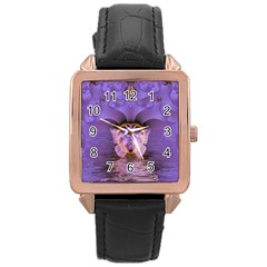 Artsy Purple Awareness Butterfly Rose Gold Leather Watch