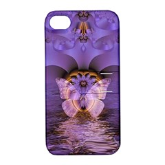 Artsy Purple Awareness Butterfly Apple iPhone 4/4S Hardshell Case with Stand