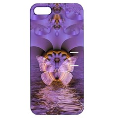 Artsy Purple Awareness Butterfly Apple iPhone 5 Hardshell Case with Stand