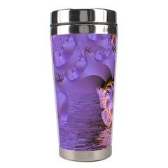 Artsy Purple Awareness Butterfly Stainless Steel Travel Tumbler