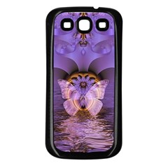 Artsy Purple Awareness Butterfly Samsung Galaxy S3 Back Case (Black)