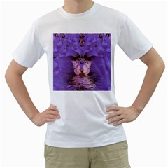 Artsy Purple Awareness Butterfly Men s T Shirt (white)