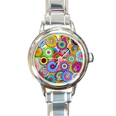 Psychedelic Flowers Round Italian Charm Watch