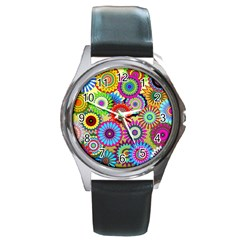 Psychedelic Flowers Round Leather Watch (Silver Rim)