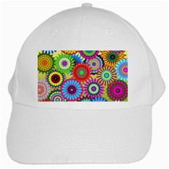 Psychedelic Flowers White Baseball Cap