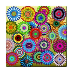 Psychedelic Flowers Ceramic Tile