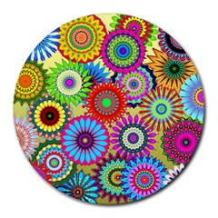 Psychedelic Flowers 8  Mouse Pad (round)