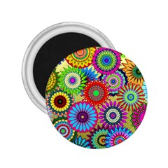 Psychedelic Flowers 2.25  Button Magnet