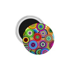 Psychedelic Flowers 1.75  Button Magnet