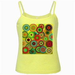 Psychedelic Flowers Yellow Spaghetti Tank