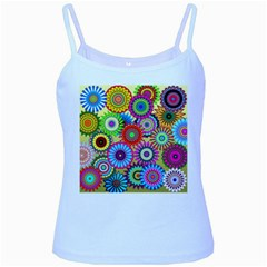 Psychedelic Flowers Baby Blue Spaghetti Tank