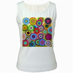Psychedelic Flowers Women s Tank Top (white)