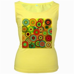 Psychedelic Flowers Women s Tank Top (Yellow)