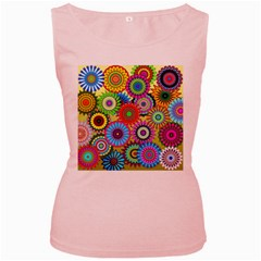 Psychedelic Flowers Women s Tank Top (Pink)