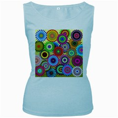 Psychedelic Flowers Women s Tank Top (Baby Blue)