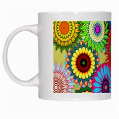 Psychedelic Flowers White Coffee Mug