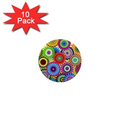 Psychedelic Flowers 1  Mini Button Magnet (10 pack)
