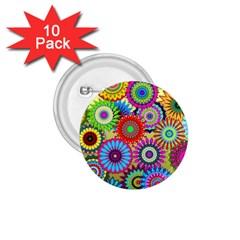 Psychedelic Flowers 1 75  Button (10 Pack)