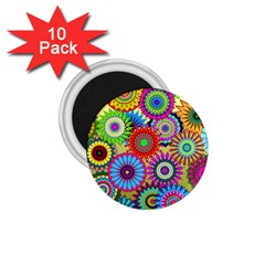 Psychedelic Flowers 1 75  Button Magnet (10 Pack)