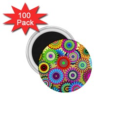 Psychedelic Flowers 1.75  Button Magnet (100 pack)