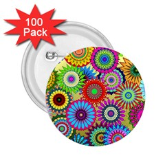 Psychedelic Flowers 2.25  Button (100 pack)