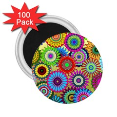 Psychedelic Flowers 2.25  Button Magnet (100 pack)