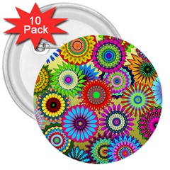 Psychedelic Flowers 3  Button (10 pack)